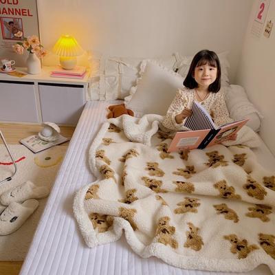 2020新款双面羊羔绒暖肤毯毛毯盖毯 150*200cm 白熊