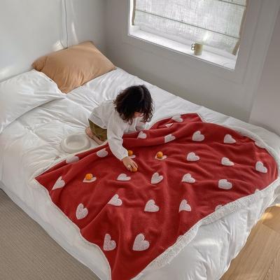 2020新款双面羊羔绒暖肤毯毛毯盖毯 150*200cm 红色爱心
