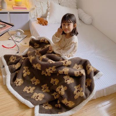 2020新款双面羊羔绒暖肤毯毛毯盖毯 150*200cm 咖熊