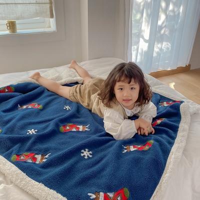 2020新款双面羊羔绒暖肤毯毛毯盖毯 150*200cm 蓝色圣诞袜