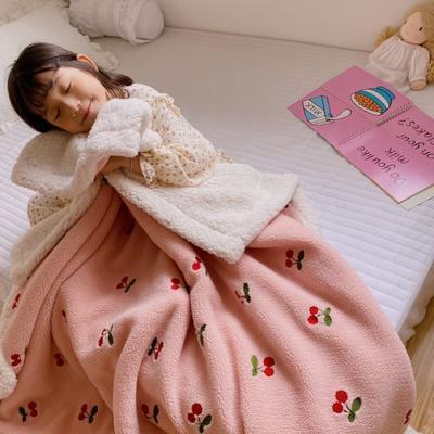 2020新款双面羊羔绒暖肤毯毛毯盖毯 150*200cm 樱桃
