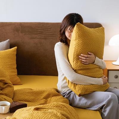 2021新款水洗棉泡泡纱AB版四件套 1.8m床笠款四件套 小泡泡亮丽黄