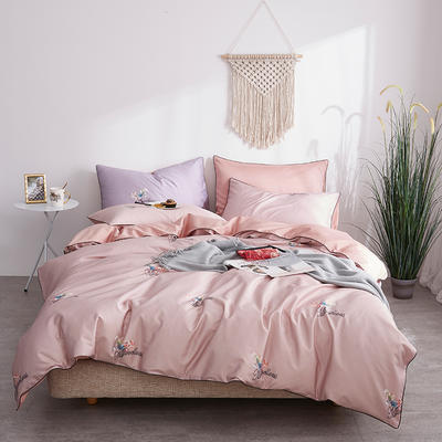 朵希曼新款60S數碼印花長絨棉系列 1.8m(6英尺)床 雨夜蘭-粉