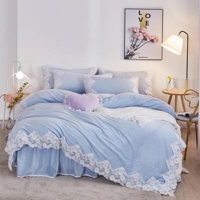 2019新款水晶絨公主風系列四件套 1.2m床單款三件套 漫舞花菲-淺藍