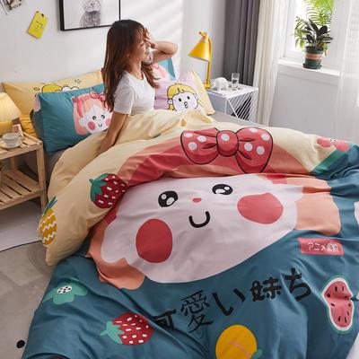 2020新款全棉二次元卡通系列四件套 1.2m床单款三件套 水果小妹