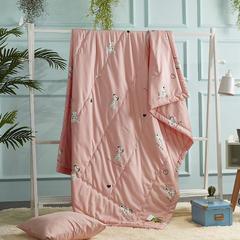 莫代尔天丝夏被卡通夏被 沙皮狗 150x200cm 粉色