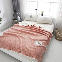 全棉纯棉纯色色织针织棉夏被盖被 150x200cm 粉色