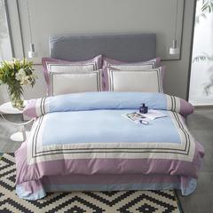 全棉纯棉素色纯色简约大拼角绣花四件套工艺款 1.5m(5英尺)床 豆沙色