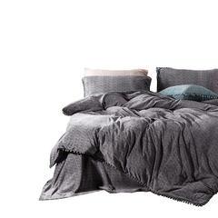 高档纯色素色工艺款牛奶绒四件套 1.5m(5英尺)床 灰色