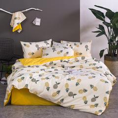 全棉活性斜纹四件套 1.5m(5英尺)床 菠萝