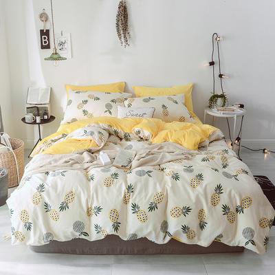 2018新款A版全棉13070斜纹B版加厚水晶绒四件套 1.2m(4英尺)床 菠萝蜜