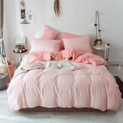 2018新款A版全棉13070斜纹B版加厚水晶绒四件套 1.2m(4英尺)床 自由 粉色