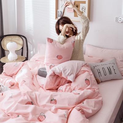 2019新款40s133*72全棉小清新系列四件套 1.2m(4英尺)床 草莓猫