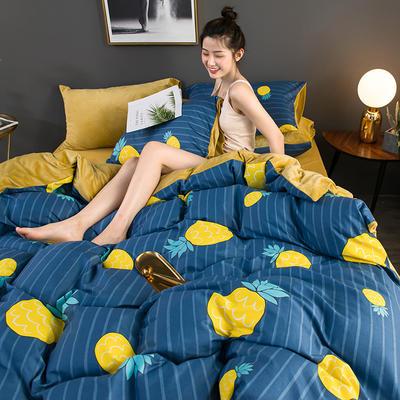 2019新款全棉加水晶绒系列单被套 155X210cm 漫画菠萝