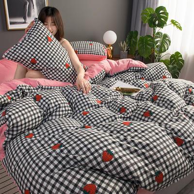 2019新款全棉加水晶绒系列四件套 1.2m床单款三件套 草莓诱惑 粉