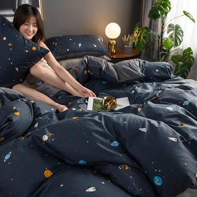 2019新款全棉加水晶绒系列四件套 1.2m床单款三件套 星空