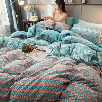 2019新款加厚保暖双面羊棉绒四件套 1.8m床单款 波西米亚 绿