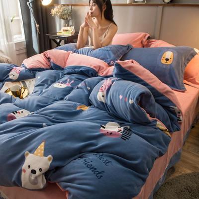 2019新款加厚保暖双面羊棉绒四件套 1.5m床单款 可爱甜心