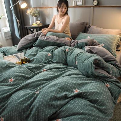 2019新款加厚保暖双面羊棉绒四件套 1.8m床单款 星光 绿