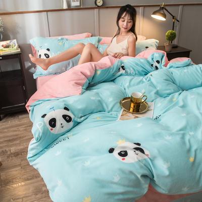2019新款加厚保暖双面羊棉绒四件套 1.5m床单款 熊猫 绿