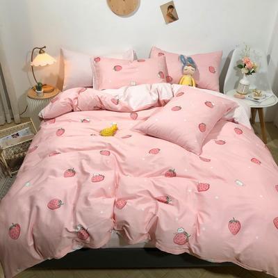 2020新款全棉斜纹四件套 1.2m床单款三件套 草莓猫