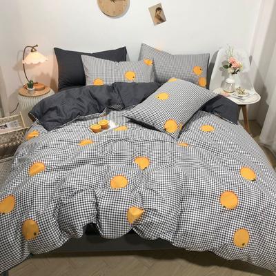 2020新款全棉斜纹四件套 1.2m床单款三件套 橙子控