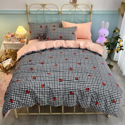 2020新款全棉斜纹四件套 1.2m床单款三件套 格子草莓-粉