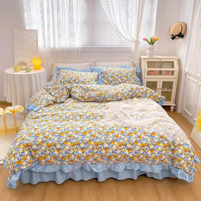 2021新款全棉韩版花卉床裙款四件套 1.5m床裙款四件套 巴黎花园