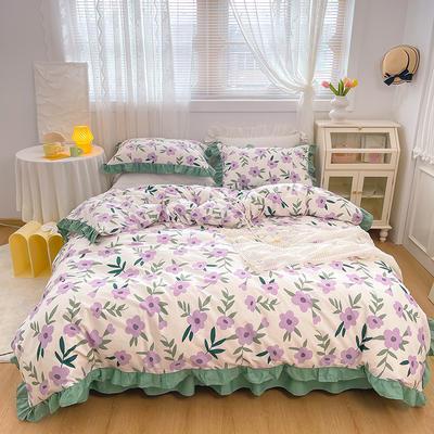 2021新款全棉韩版花卉床裙款四件套 1.5m床裙款四件套 晚风