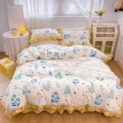 2021新款全棉韩版花卉床裙款四件套 1.5m床裙款四件套 枝丫