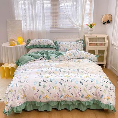 2021新款全棉韩版花卉床裙款四件套 1.5m床裙款四件套 清新