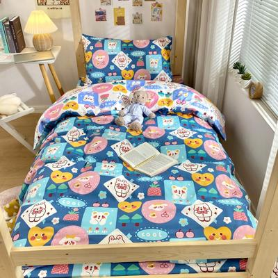 2021新款活性全棉13372学生三件套 1.2m床单款三件套 蓝色小可爱