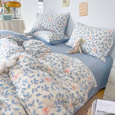 2021新款40支13372全棉单被套  单品床单   单品枕套—ins网红小清新系列 155*210cm单被套 菲菲兔蓝
