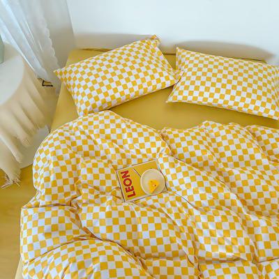 2021新款40支13372全棉四件套—ins网红小清新系列 1.2米床单款三件套 棋盘格黄