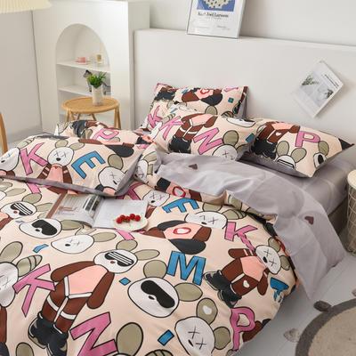2021新款40支13070全棉四件套—儿童卡通系列(拍法二) 1.2m床单款三件套 酷酷兔