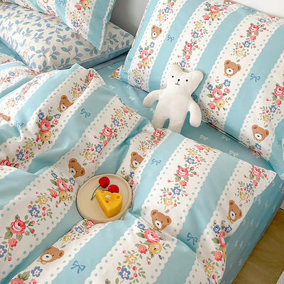 2021新款40支13372全棉单被套  单品床单   单品枕套—ins网红小清新系列 155*210cm单被套 蓝色思念