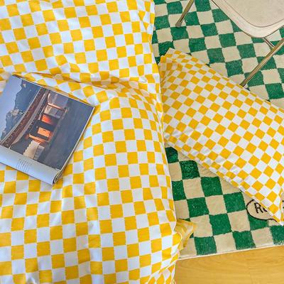2021新款40支13372全棉单被套  单品床单   单品枕套—ins网红小清新系列 155*210cm单被套 棋盘格黄