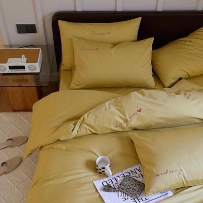 2021新款60支全棉水洗棉绣花四件套 1.8m床单款四件套 明黄