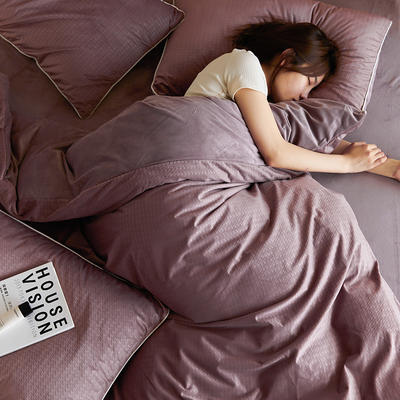 2021新款AB版挪威提花立体绒定制升级宝宝绒四件套 1.8m床单款四件套 紫粉