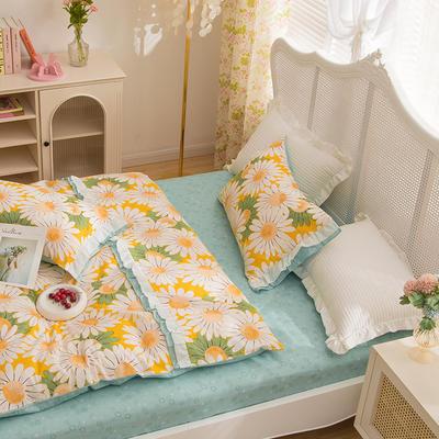 2021新款13372(40支)全棉花纱系列 公主系四件套 1.5m床单款四件套 爱莲娜-黄