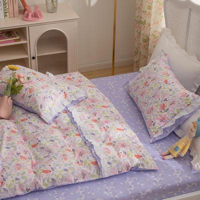 2021新款13372(40支)全棉花纱系列 公主系四件套 1.5m床单款四件套 多彩