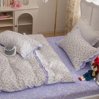 2021新款13372(40支)全棉花纱系列 公主系四件套 1.5m床单款四件套 紫藤萝