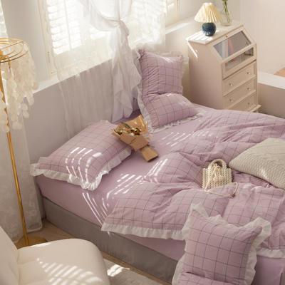 2021新款色织水洗全棉雪纺花边四件套-花纱系列 1.5m床单款四件套 进行曲-紫