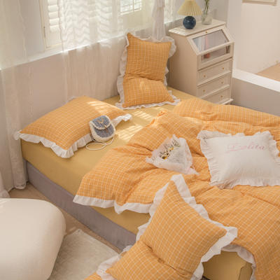2021新款色织水洗全棉雪纺花边四件套-花纱系列 1.5m床单款四件套 曼迪-黄