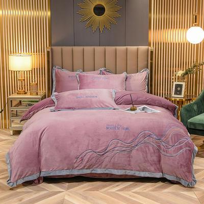 2021新款锦丝绒加厚刺绣四件套-山水相逢系列 1.5m床单款四件套 梦幻紫