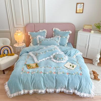 2021秋冬牛奶绒绣花四件套 1.2m床单款三件套 梵小兔