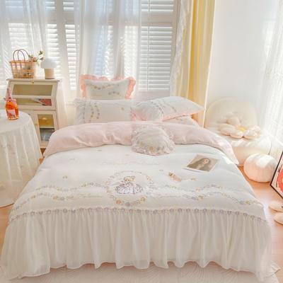 2021秋冬牛奶绒绣花四件套 1.2m床单款三件套 爱丽丝奶油白