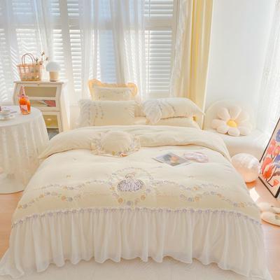 2021秋冬牛奶绒绣花四件套 1.2m床单款三件套 爱丽丝芝士黄