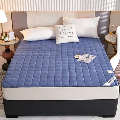 2021新款亲肤全棉抗菌床垫 软床垫 学生宿舍防滑床垫 夹棉床笠 0.9*2.0m 牛仔蓝