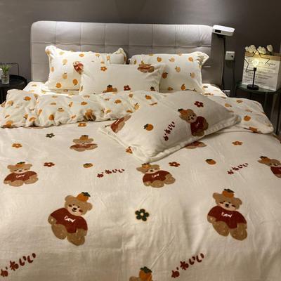 2021新款秋冬小清新210g印花牛奶绒系列四件套 1.8m床单款四件套 柿子熊